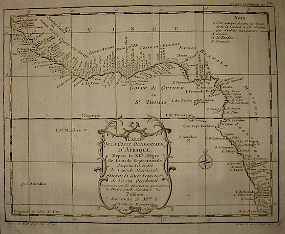 Bellin Jacques Nicolas (1703-1772) Carte de la Coste Occidentale d'Afrique... 1739 Parigi