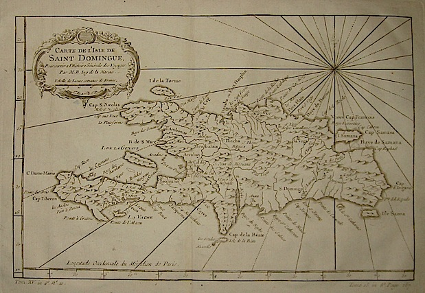Bellin Jacques-Nicolas (1703-1772) Carte de l'Isle de Saint Domingue... 1750 ca. Parigi