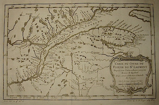 Bellin Jacques-Nicolas (1703-1772) Carte du cours du Fleuve de St.Laurent... 1757 Parigi