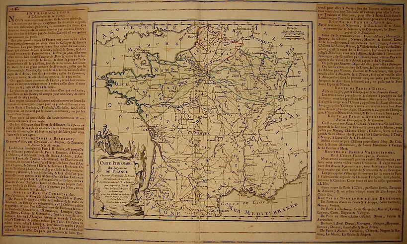 Brion de la Tour Louis - Desnos Louis Charles Carte Itineraire du Royaume de France... 1766 Paris