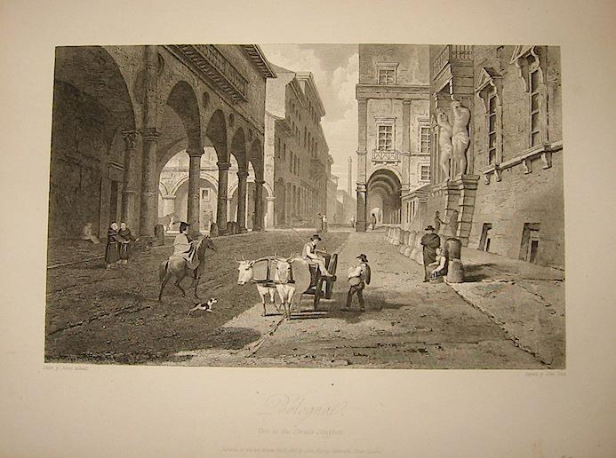 Scott John Bologna. View in the Strada Maggiore 1818 Londra