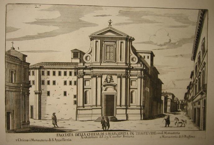 Falda Giovanni Battista (1643-1678) Facciata della Chiesa di S. Margerita in Trastevere 1773 Roma