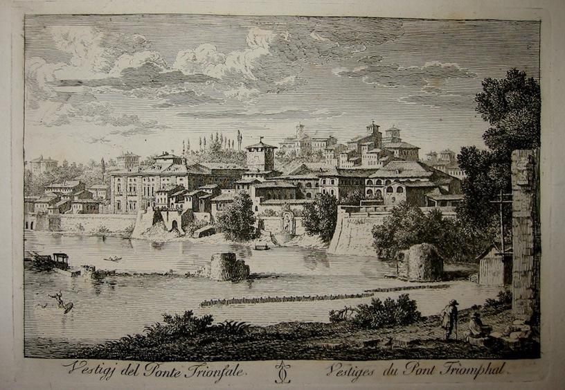 Calcografia Vasi Vestigi del Ponte Trionfale 1796 Roma