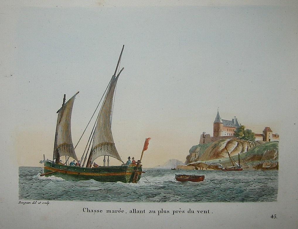 Baugean Jean Jerome Chasse marèe, allant au plus près du vent 1817 Parigi