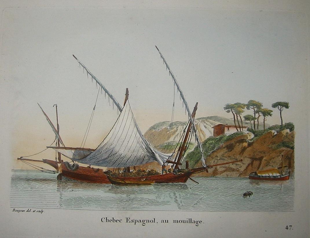 Baugean Jean Jerome Chebec Espagnol, au mouillage 1817 Parigi