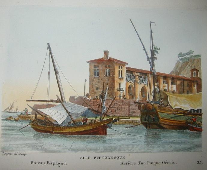 Baugean Jean Jerome Site pittoresque: Bateau Espagnol, Arrière d'un Pinque Génois 1817 Parigi