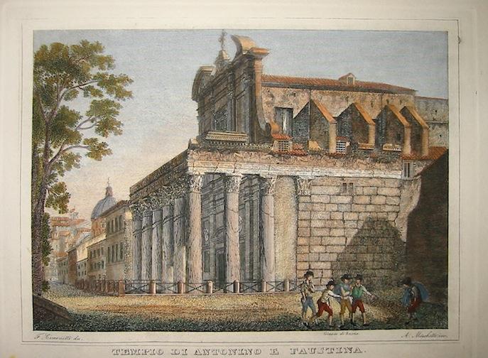 Moschetti Alessandro (attivo a Roma intorno alla metà  del XIX Secolo) Tempio di Antonino e Faustina 1840 ca. Roma