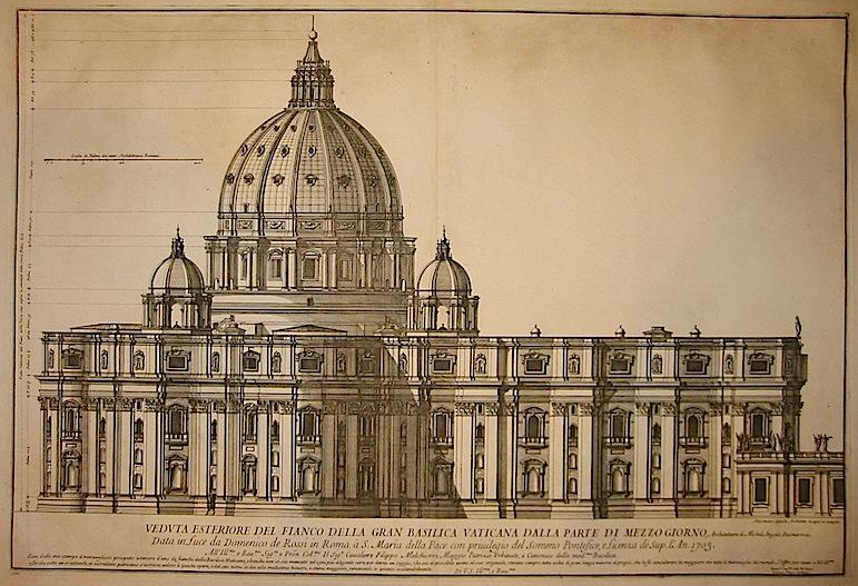 Specchi Alessandro (1668-1729) Veduta esteriore del fianco della Gran Basilica Vaticana dalla parte di mezzo giorno, architettura di Michel Angelo Buonarroti 1703 Roma