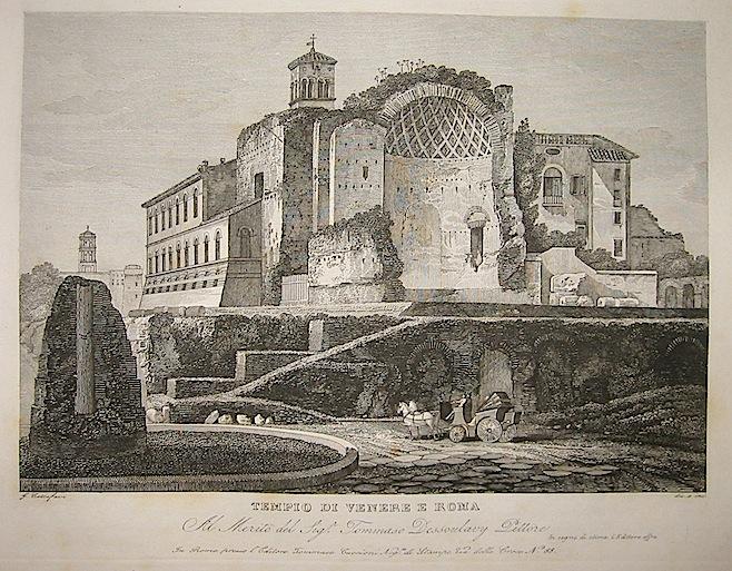 Cottafavi Gaetano (attivo nella prima metà  del XIX Secolo) Tempio di Venere e Roma 1843 Roma