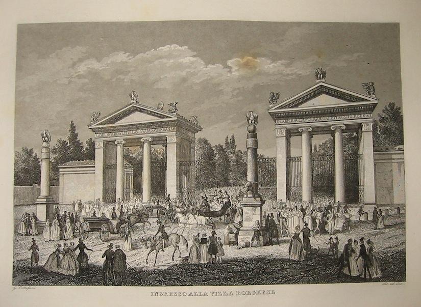 Cottafavi Gaetano (attivo nella prima metà  del XIX Secolo) Ingresso alla Villa Borghese 1843 Roma
