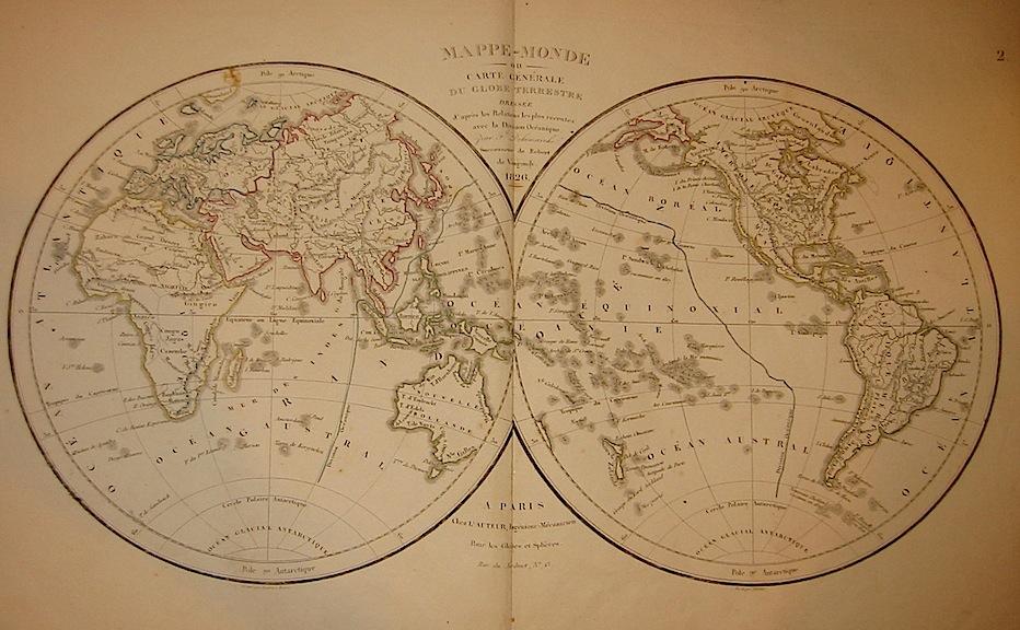 Delamarche Felix Mappe-monde ou carte générale du Globe terrestre... 1826 Parigi