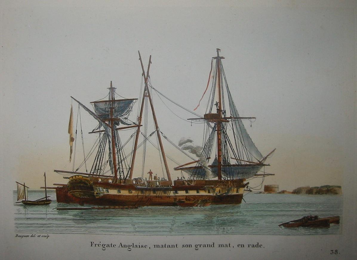 Baugean Jean Jerome Frégate Anglaise, matant son grand mat, en rade 1817 Parigi