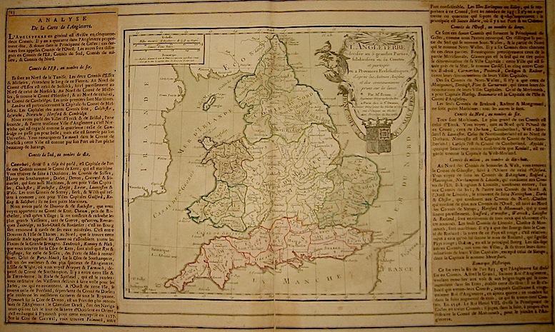 Brion de la Tour Louis - Desnos Louis Charles L'Angleterre divisée en 5. grandes Parties, subdivisées en 52. Comtés... 1766 Paris