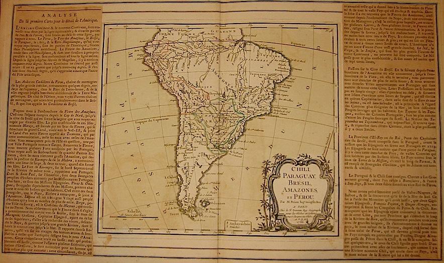 Brion de la Tour Louis - Desnos Louis Charles Chili, Paraguay, Brézil, Amazones, et Pérou 1766 Paris