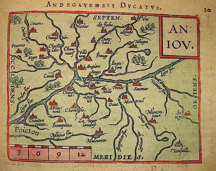 Ortelius Abraham (1528-1598) Andegavensis Ducatus 1601 Anversa, apud Ioannem Bapt. Vrientum