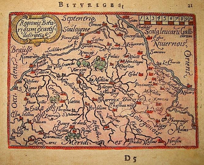 Ortelius Abraham (1528-1598) Regionis Biturigum exactissima descriptio 1601 Anversa, apud Ioannem Bapt. Vrientum
