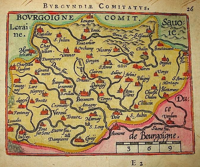 Ortelius Abraham (1528-1598) Burgundiae Comitatus 1601 Anversa, apud Ioannem Bapt. Vrientum