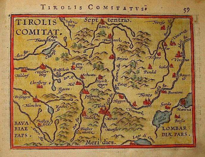 Ortelius Abraham (1528-1598) Tirolis Comitatus 1601 Anversa, apud Ioannem Bapt. Vrientum