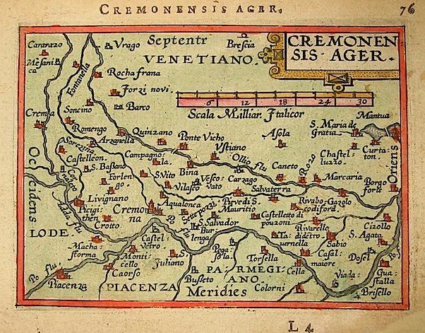 Ortelius Abraham (1528-1598) Cremonensis ager 1601 Anversa, apud Ioannem Bapt. Vrientum