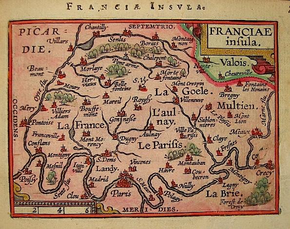 Ortelius Abraham (1528-1598) Franciae insula 1601 Anversa, apud Ioannem Bapt. Vrientum
