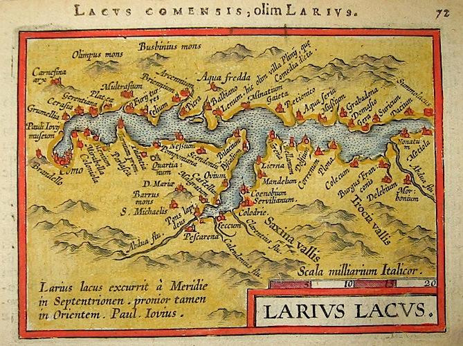 Ortelius Abraham (1528-1598) Larius Lacus 1601 Anversa, apud Ioannem Bapt. Vrientum