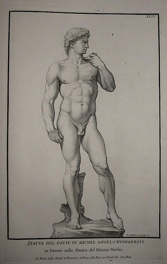 Poilly Giovanni Battista, de Statua del David di Michel Angelo Buonarroti. In Firenze nella Piazza del Palazzo Vecchio 1704 Roma