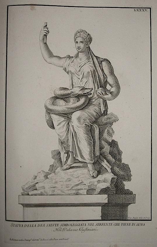 Aquila Francesco Statua della Dea Salute simboleggiata nel serpente che tiene in seno. Nel Palazzo Giustiniani 1704 Roma