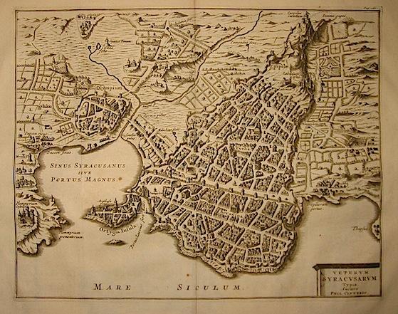 Van der Aa Pieter (1659-1733) Veterum Syracusarum Typus. Auctore Phil. Cluverio 1704 Lugduni Batavorum (Leiden)