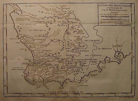 Bellin Jacques-Nicolas (1703-1772) Le Pays des Hottentots, aux Environs du Cap de Bonne Espérance 1750 ca. Parigi