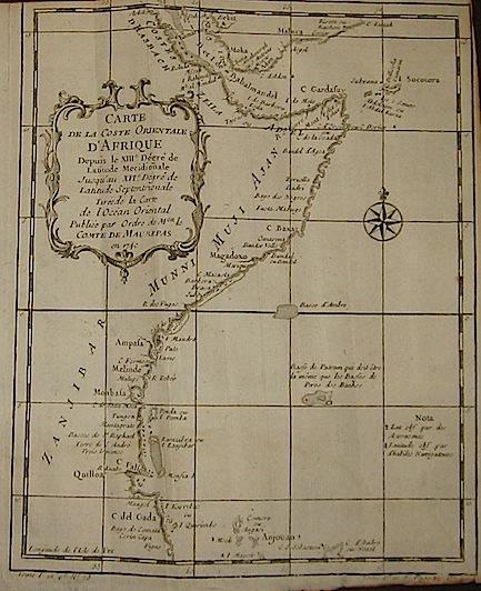 Bellin Jacques Nicolas (1703-1772) Carte de la Coste Orientale d'Afrique... 1740 Parigi