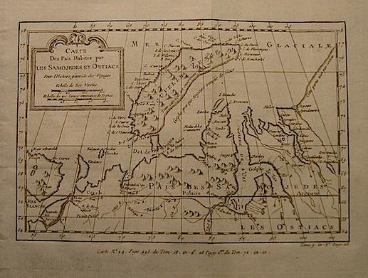 Bellin Jacques-Nicolas (1703-1772) Carte des Pais habités par les Samojedes et Ostiacs... 1750 ca. Parigi