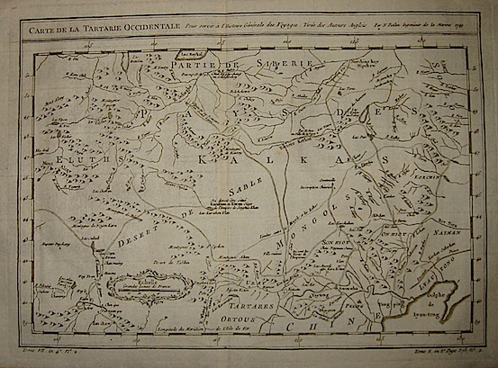 Bellin Jacques-Nicolas (1703-1772) Carte de la Tartarie occidentale... 1749 Parigi