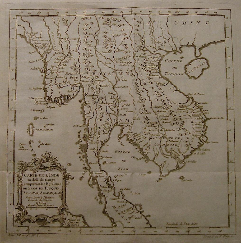 Bellin Jacques-Nicolas (1703-1772) Carte de l'Inde au-delà  du Gange... 1750 ca. Parigi