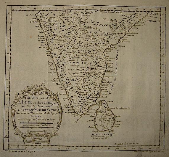 Bellin Jacques-Nicolas (1703-1772) Suite de la carte de l'Inde en deça du Gange.. 1750 ca. Parigi