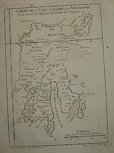 Bellin Jacques-Nicolas (1703-1772) Carte de l'Isle Célèbes ou Macassar... 1750 ca. Parigi