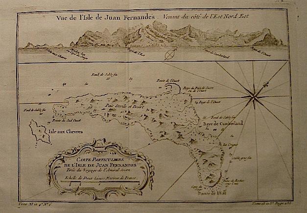 Bellin Jacques-Nicolas (1703-1772) Carte particuliere de l'Isle de Juan Fernandes... 1750 ca. Parigi