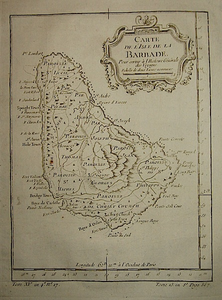 Bellin Jacques-Nicolas (1703-1772) Carte de l'Isle de la Barbade... 1750 ca. Parigi