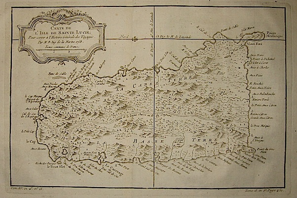 Bellin Jacques-Nicolas (1703-1772) Carte de l'Isle de Sainte Lucie... 1758 Parigi