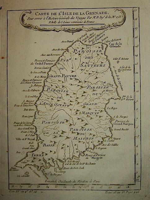 Bellin Jacques-Nicolas (1703-1772) Carte de l'Isle de la Grenade... 1758 Parigi