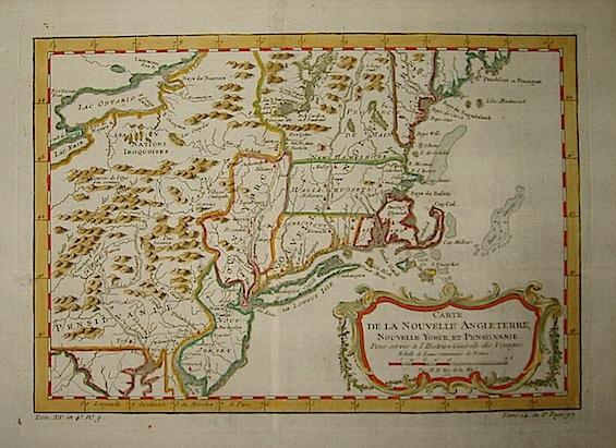 Bellin Jacques-Nicolas (1703-1772) Carte de la Nouvelle Angleterre, Nouvelle Yorck, et Pensilvanie 1750 ca. Parigi