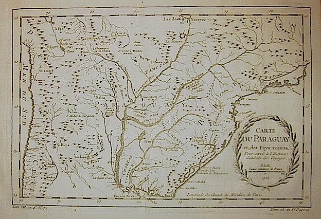 Bellin Jacques-Nicolas (1703-1772) Carte du Paraguay 1756 Parigi