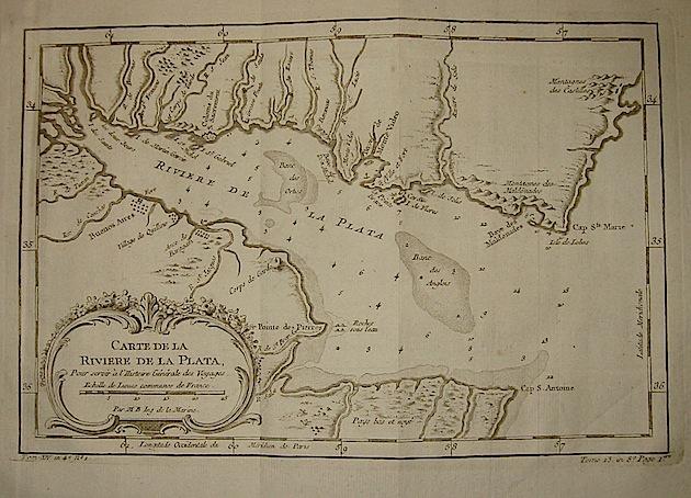 Bellin Jacques-Nicolas (1703-1772) Carte de la Riviere de la Plata... 1750 ca. Parigi