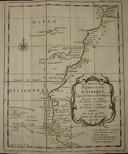 Bellin Jacques Nicolas (1703-1772) Coste Occidentale d'Afrique, depuis le Détroit de Gibraltar... 1738 Parigi