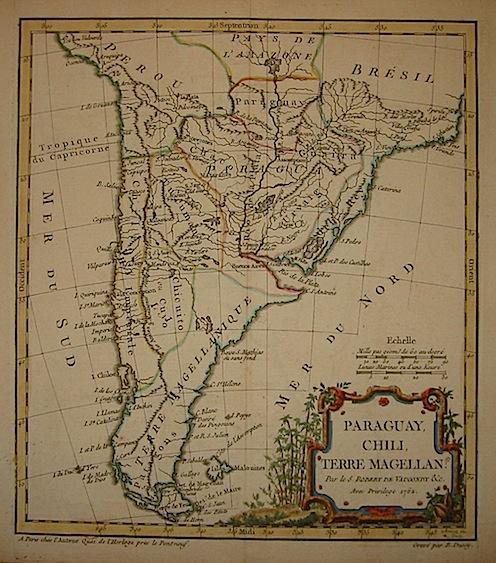 De Vaugondy Robert Paraguay, Chili, Terre Magellan 1762 Paris