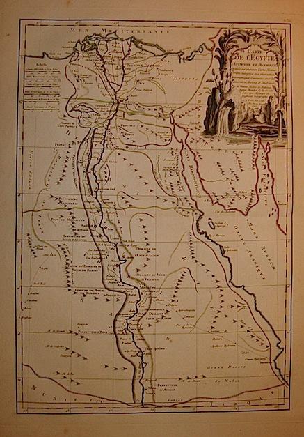 Bonne Rigobert Carte de l'Egypte ancienne et moderne... 1762 Parigi