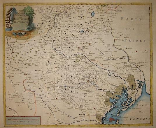 Albrizzi Giambattista (1698-1777) Carta geografica del territorio trevigiano 1753 Venezia