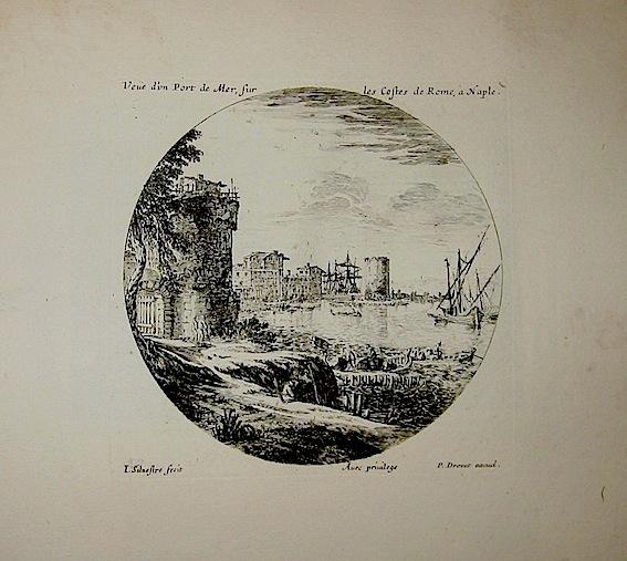 Silvestre Israel (1621-1691) Veue d'un Port de Mer, sur les Costes de Rome, à  Naple. 1835 ca. Parigi