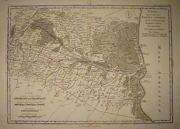 Lalande (de) Joseph Jerome Carte du pais situe entre Bologne et Ferrare... 1790 Parigi