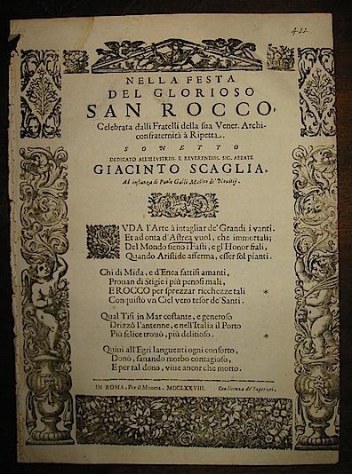 Anonimo Nella festa del glorioso San Rocco celebrata dalli Fratelli della sua Vener. Archiconfraternità  à  Ripetta. Sonetto 1678 in Roma per il Moneta