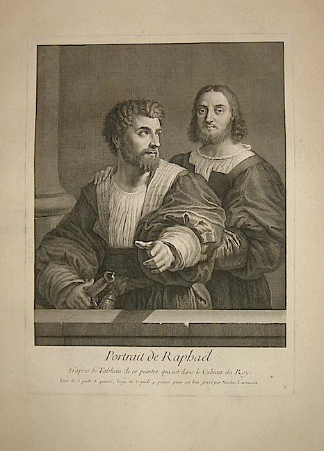 Larmessin Nicolas Portrait de Raphael d'apres le tableau de ce peintre qui est dans le Cabinet du Roy inizi XIX Secolo Parigi